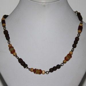"Vintage wooden beaded Boho Necklace 18"""
